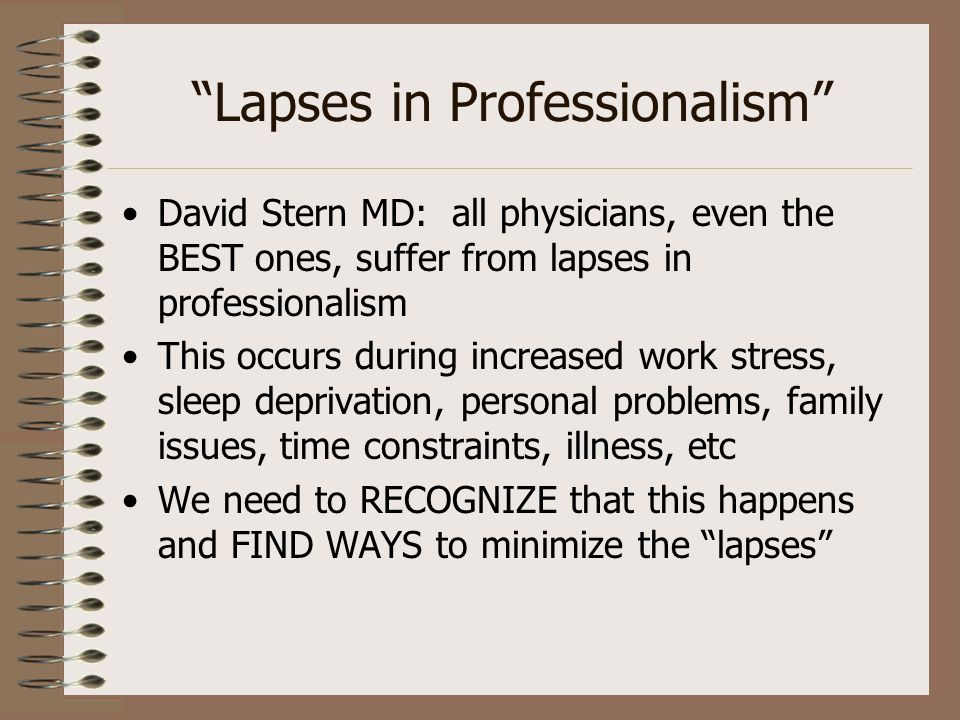 Lapses in Professionalism