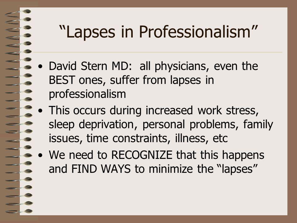 Lapses in Professionalism