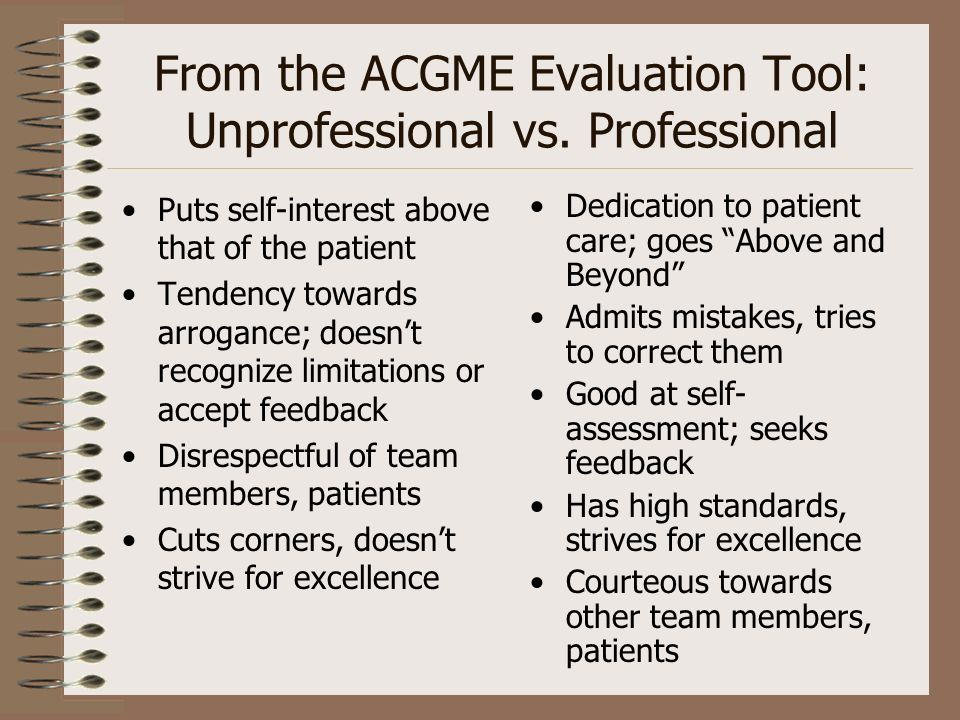 From the ACGME Evaluation Tool: Unprofessional vs. Professional