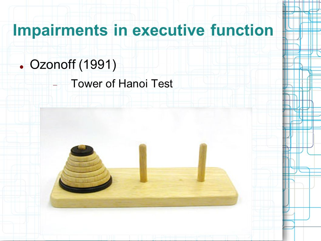 Impairments in executive function