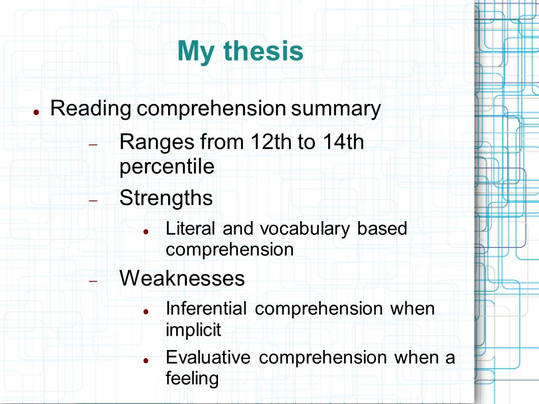 thesis on reading How to write your thesis compiled by kim kastens, stephanie pfirman, martin stute this is a statement of something sufficiently interesting to motivate your reader to read the rest of the paper your thesis is not written in the same order as it is presented in the.