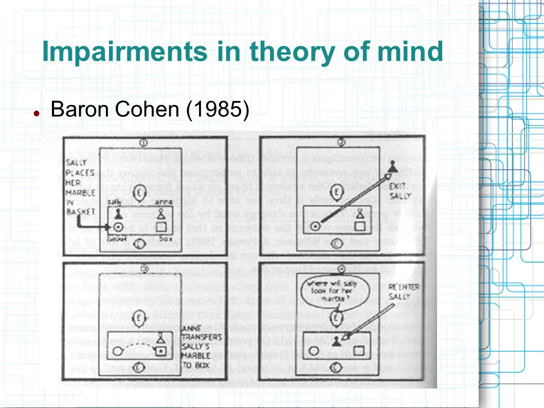 Impairments in theory of mind