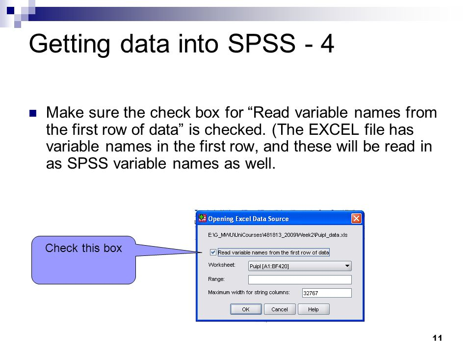 Getting data into SPSS - 4