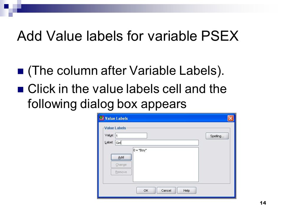 Add Value labels for variable PSEX
