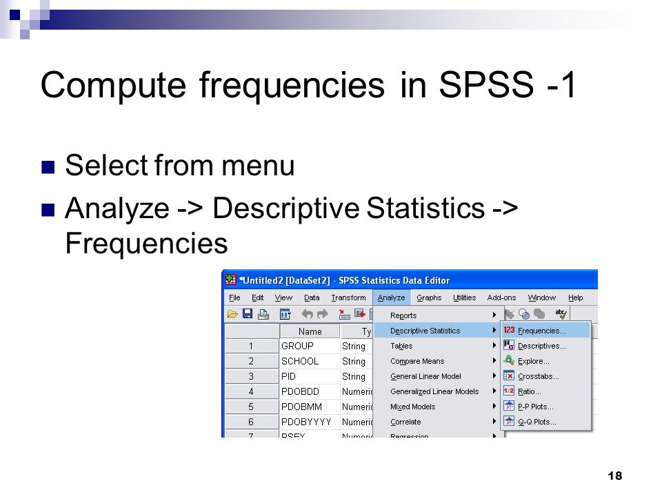 Compute frequencies in SPSS -1
