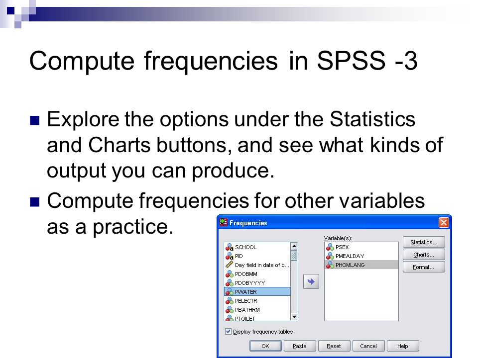 Compute frequencies in SPSS -3