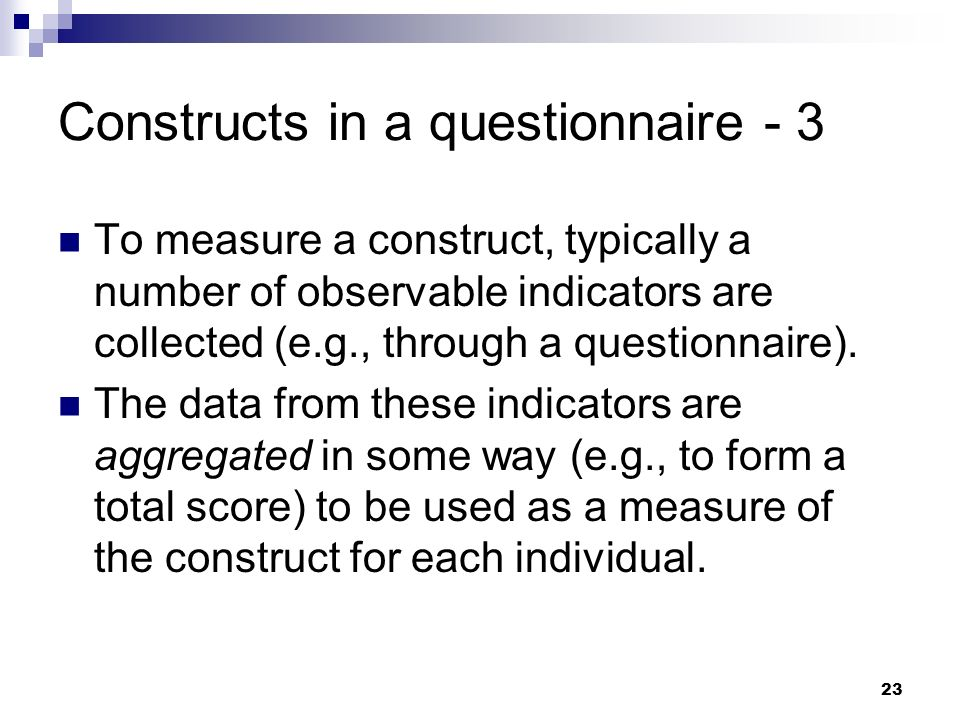 Constructs in a questionnaire - 3