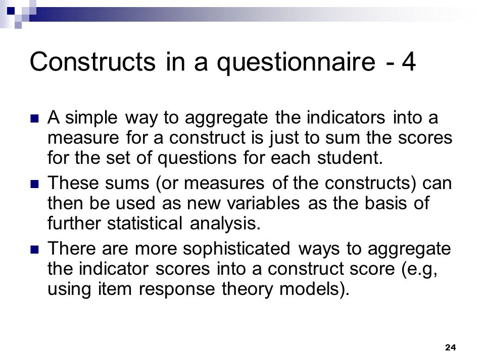 Constructs in a questionnaire - 4