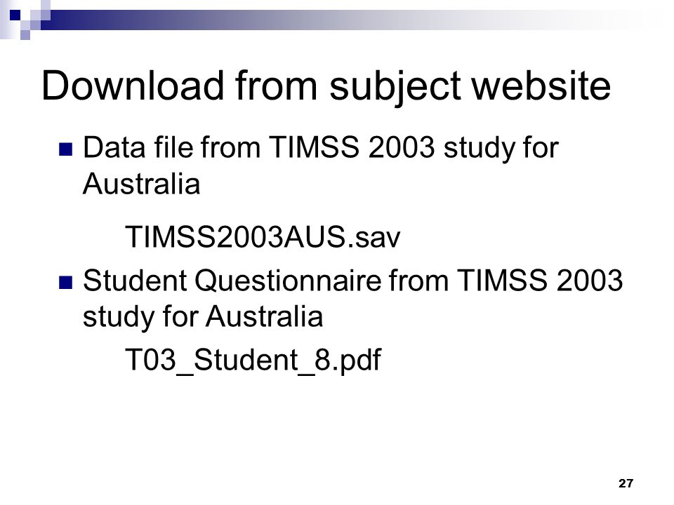 Download from subject website