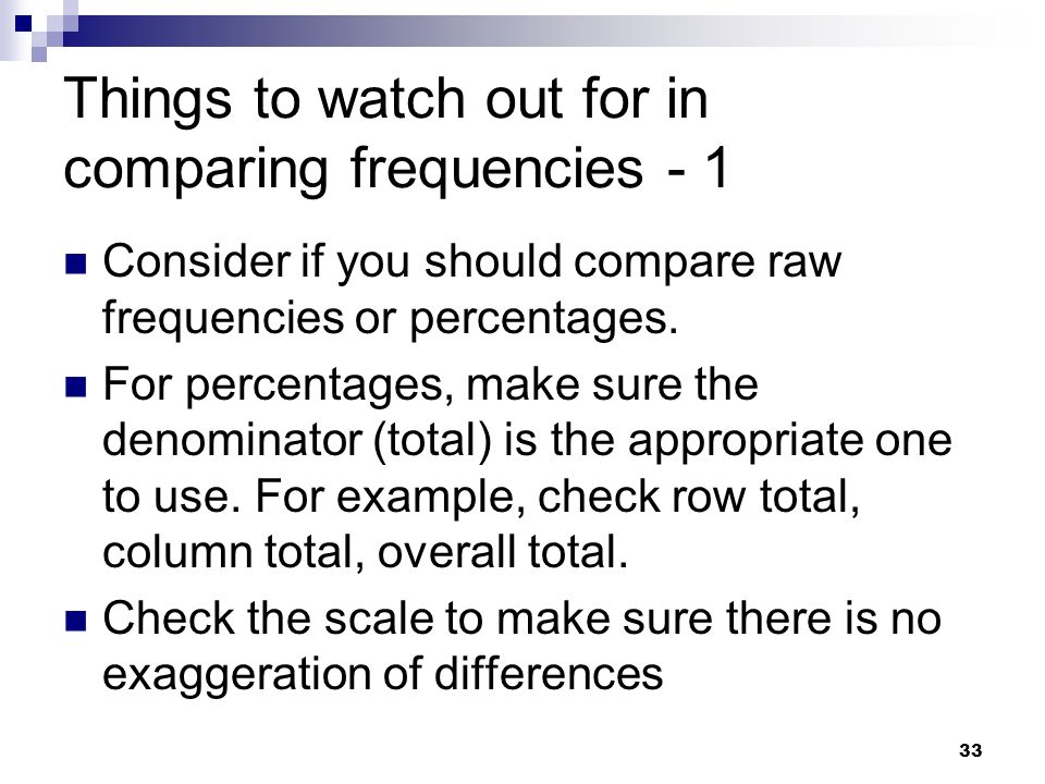 Things to watch out for in comparing frequencies - 1