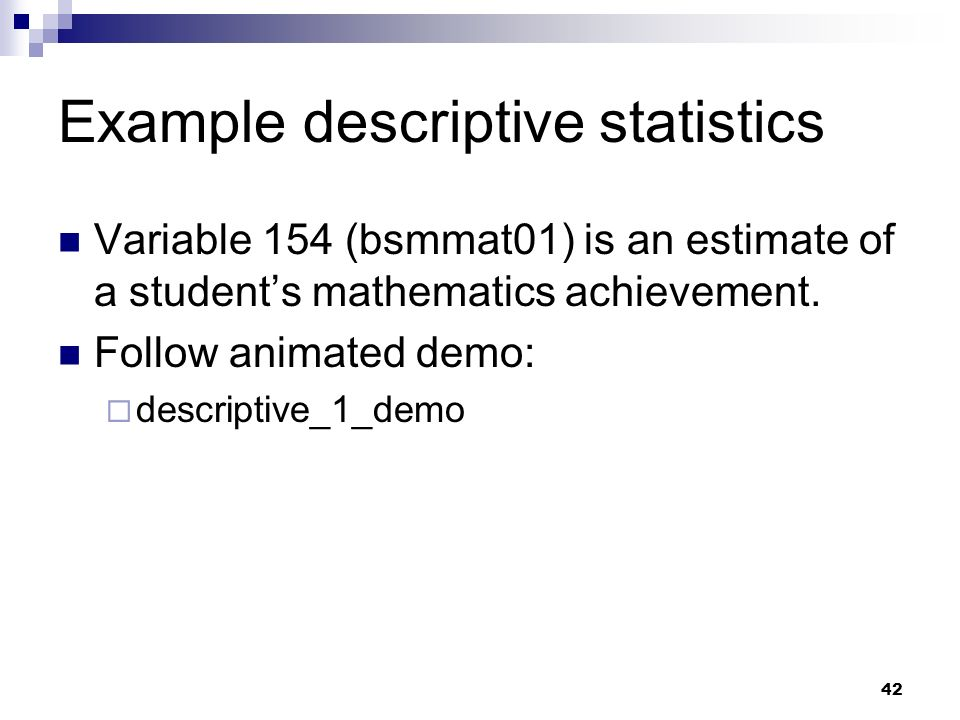 Example descriptive statistics