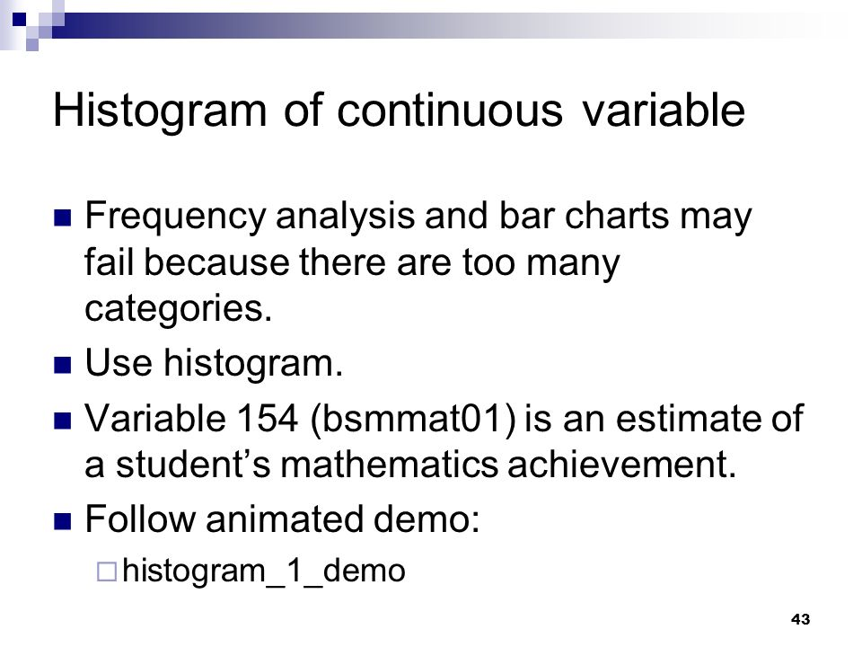 Histogram of continuous variable