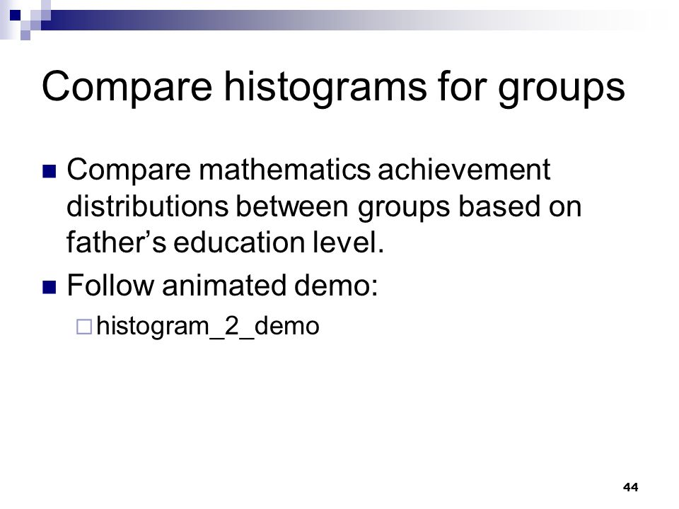 Compare histograms for groups
