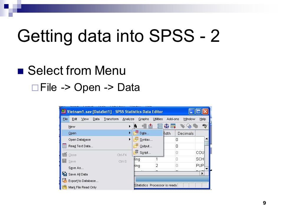 Getting data into SPSS - 2