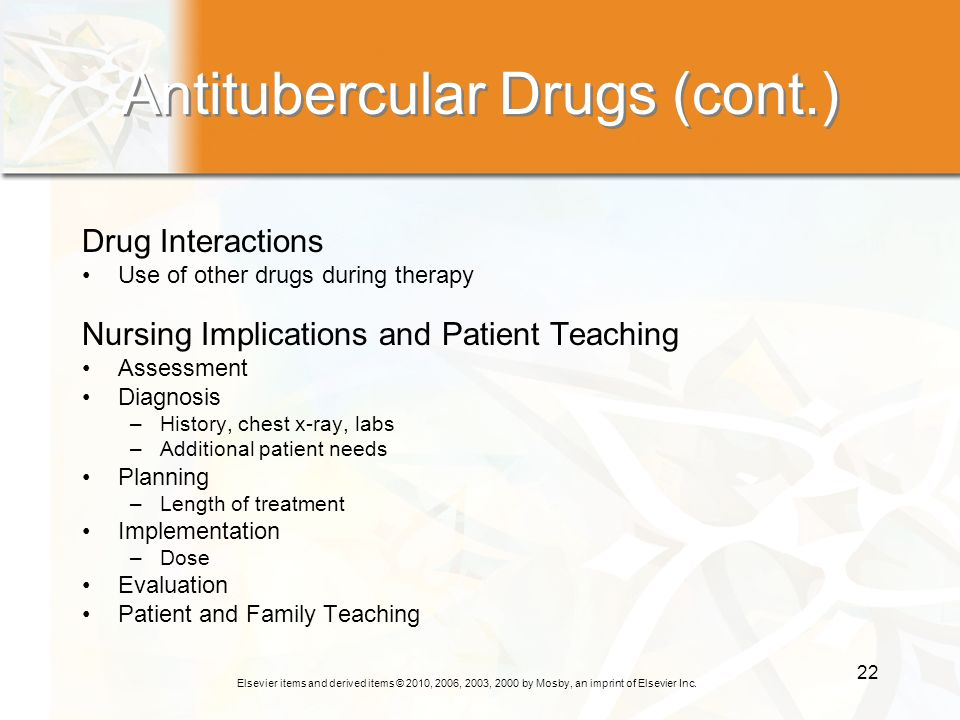 Antitubercular Drugs (cont.)