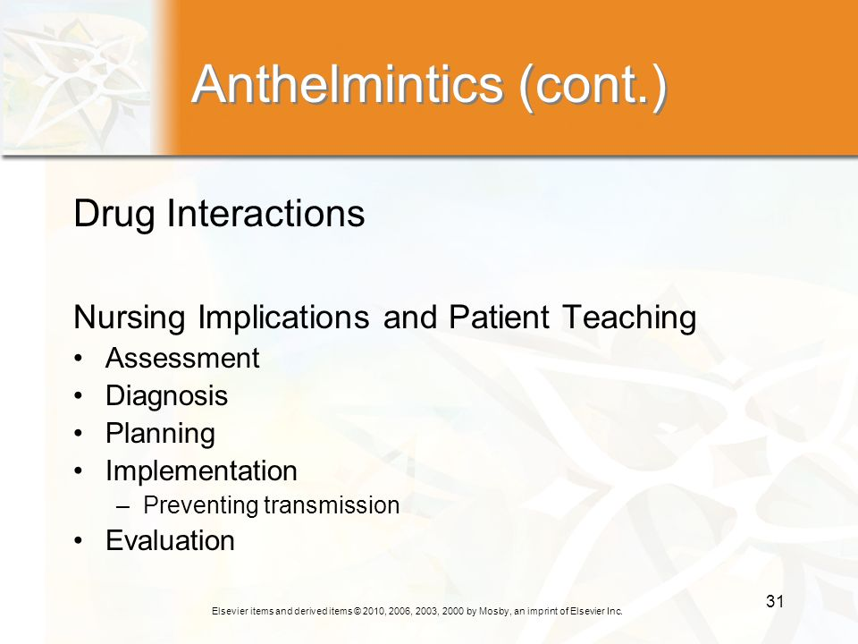 Anthelmintics (cont.) Drug Interactions