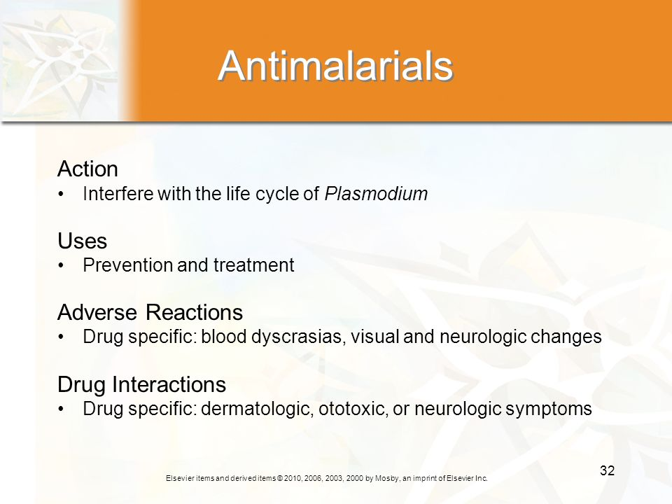 Antimalarials Action Uses Adverse Reactions Drug Interactions
