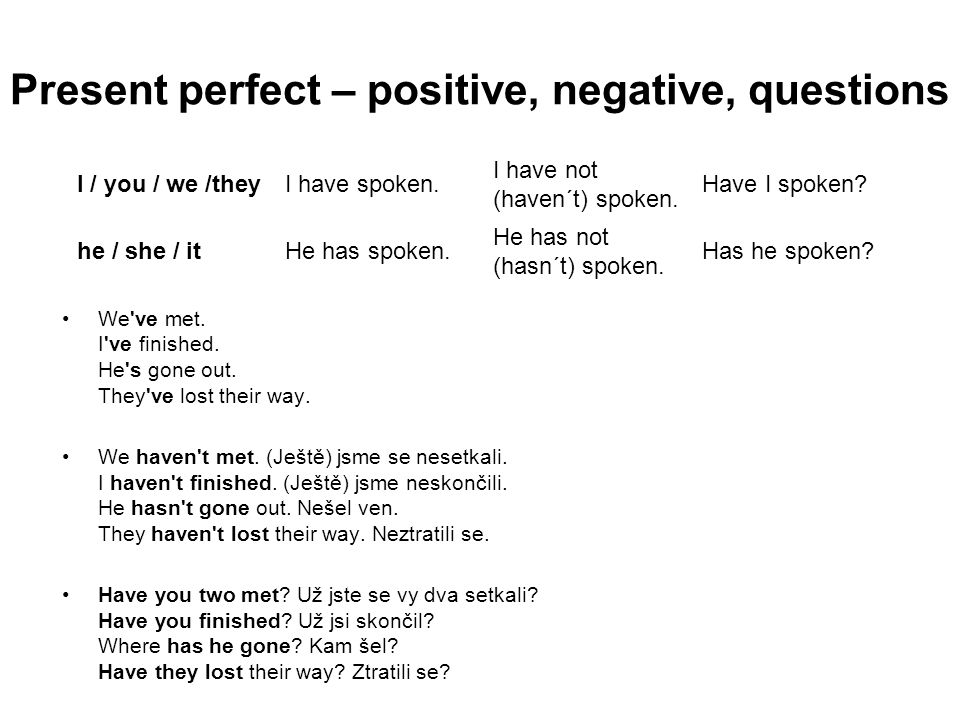 Present perfect – positive, negative, questions
