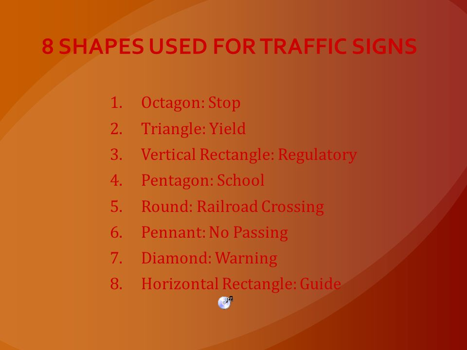 8 SHAPES USED FOR TRAFFIC SIGNS