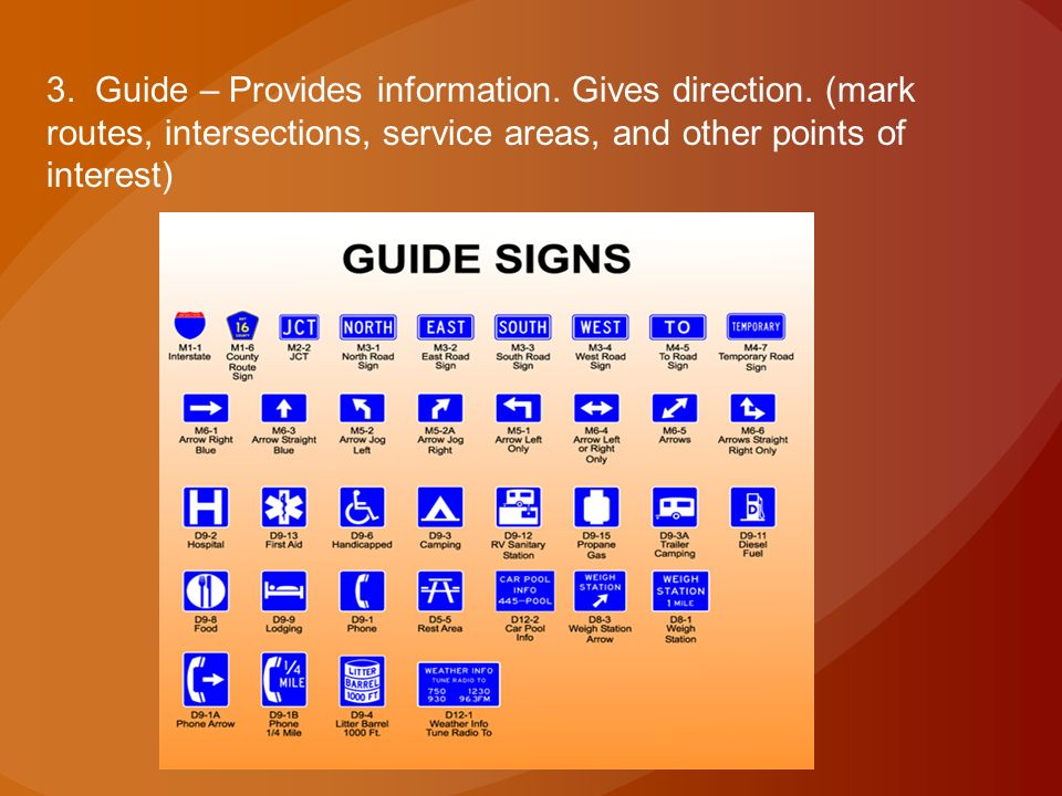 3. Guide – Provides information. Gives direction