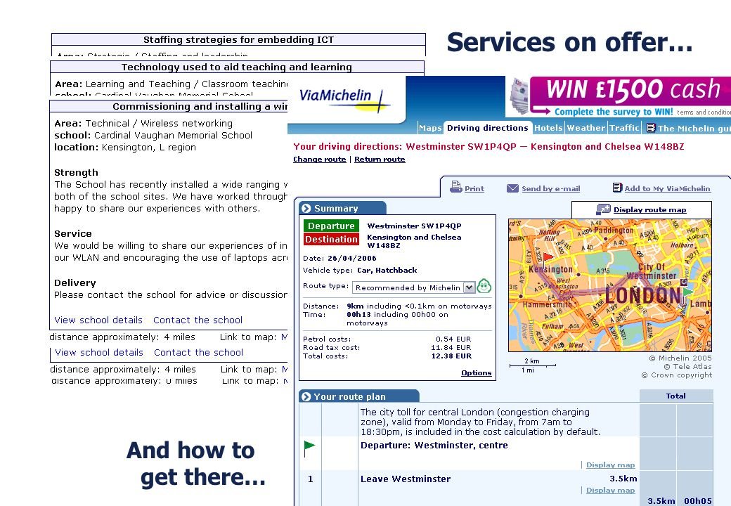 Services on offer… And how to get there…