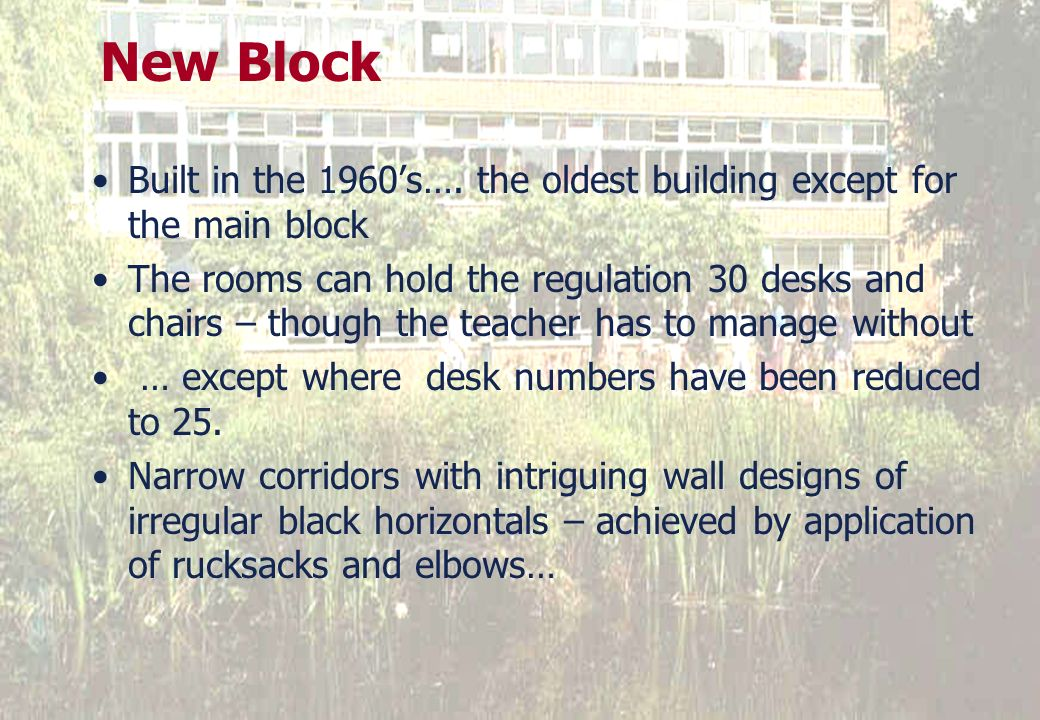 25 March 2017New Block. Built in the 1960's…. the oldest building except for the main block.