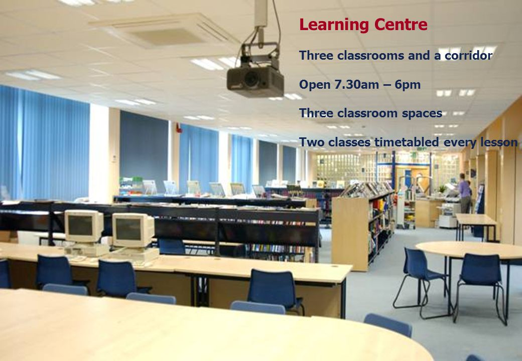 25 March 2017Learning Centre Three classrooms and a corridor Open 7.30am – 6pm Three classroom spaces Two classes timetabled every lesson.