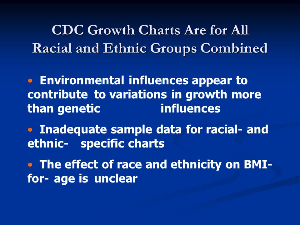CDC Growth Charts Are for All Racial and Ethnic Groups Combined