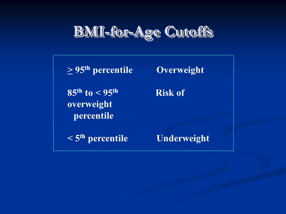 BMI-for-Age Cutoffs > 95th percentile Overweight