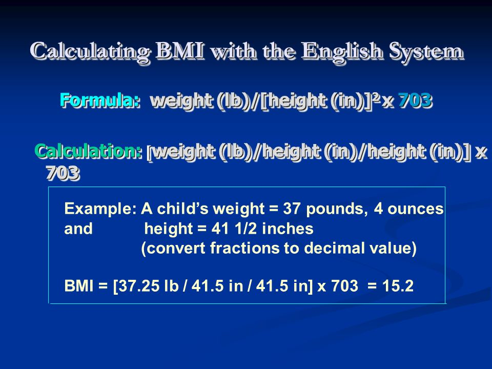 Calculating BMI with the English System