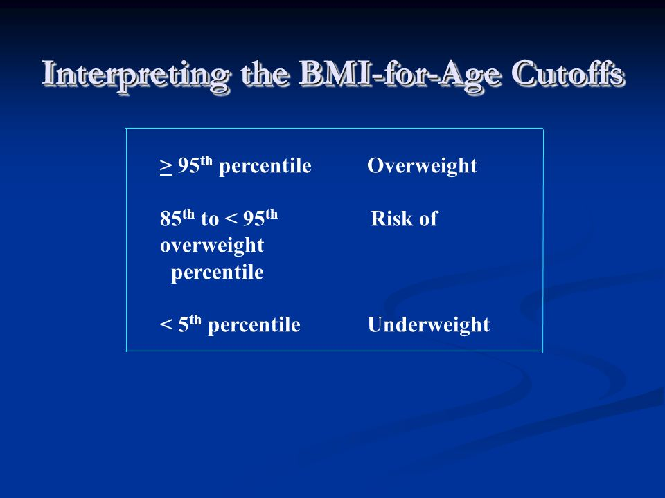 Interpreting the BMI-for-Age Cutoffs