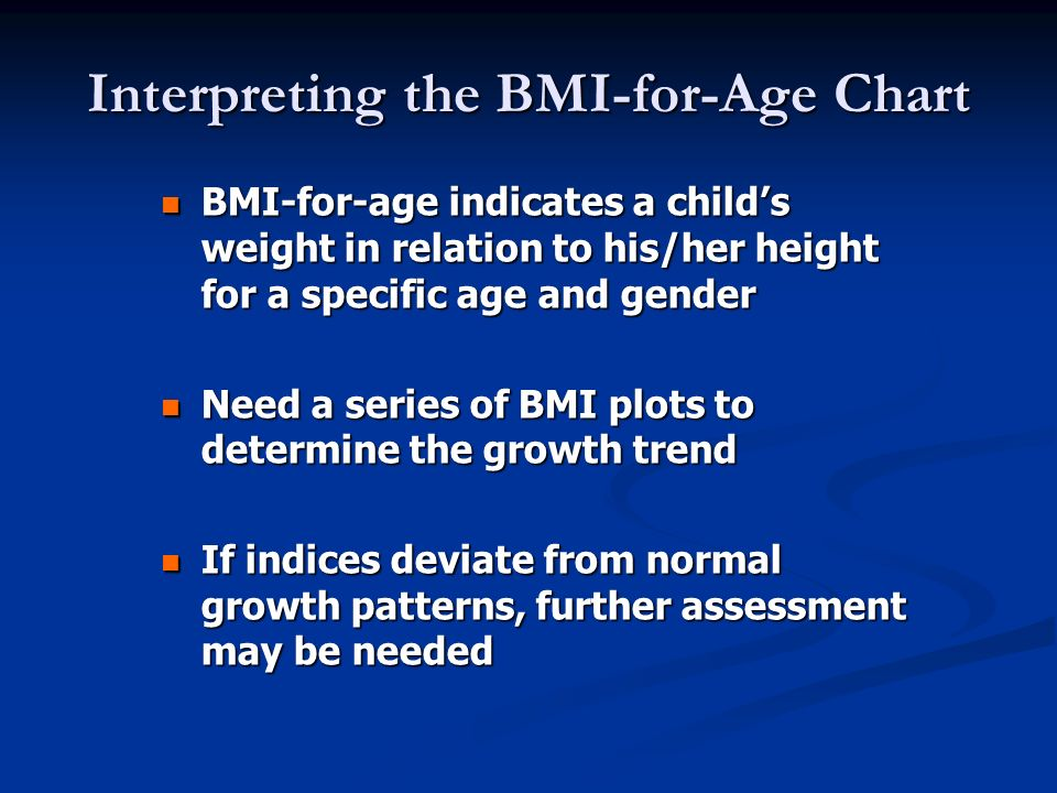 Interpreting the BMI-for-Age Chart