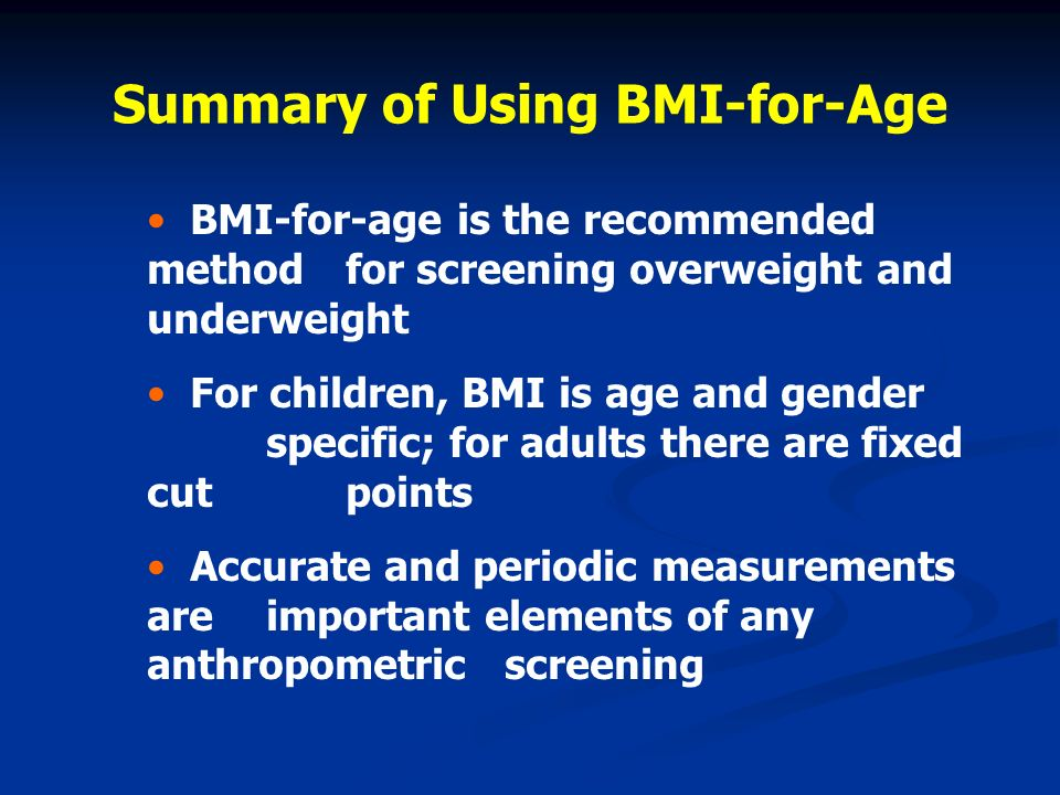 Summary of Using BMI-for-Age