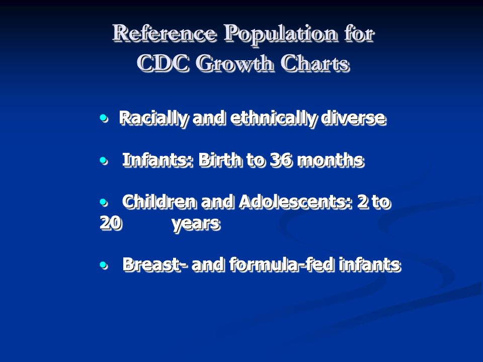 Reference Population for CDC Growth Charts