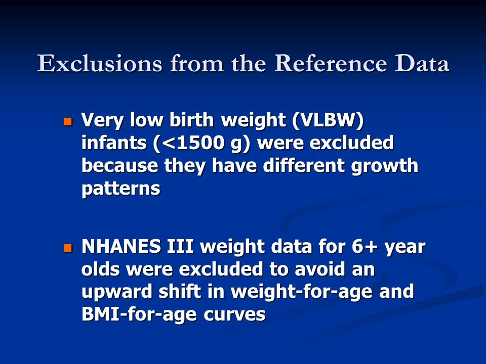 Exclusions from the Reference Data