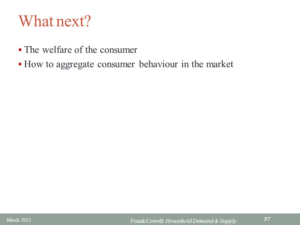 What next The welfare of the consumer