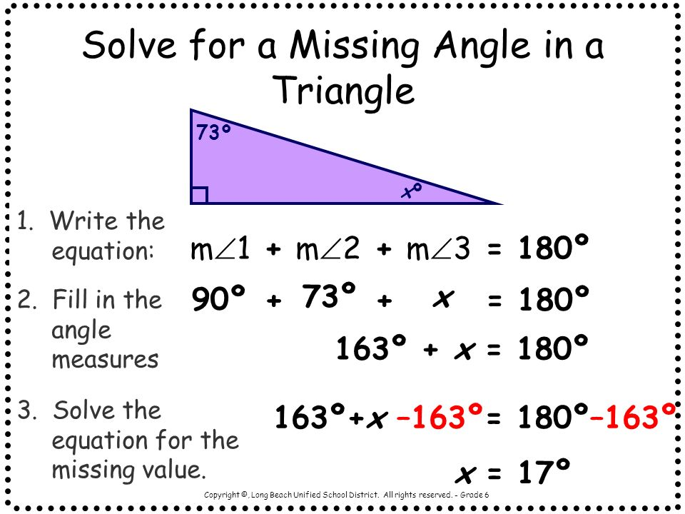 Solve for a Missing Angle in a Triangle