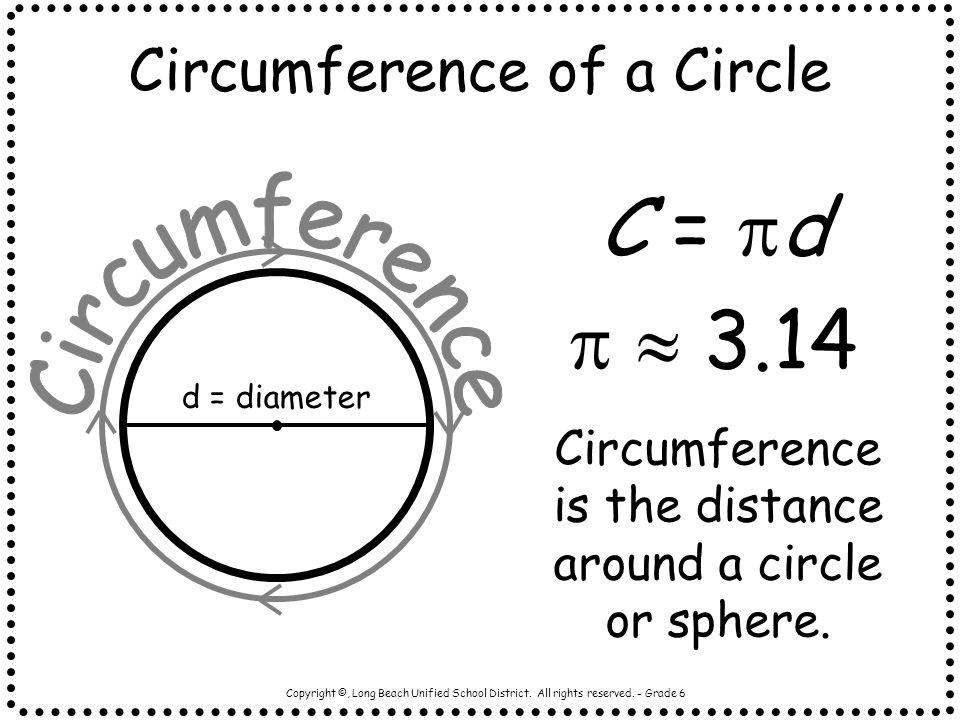 C = d   3.14 Circumference of a Circle