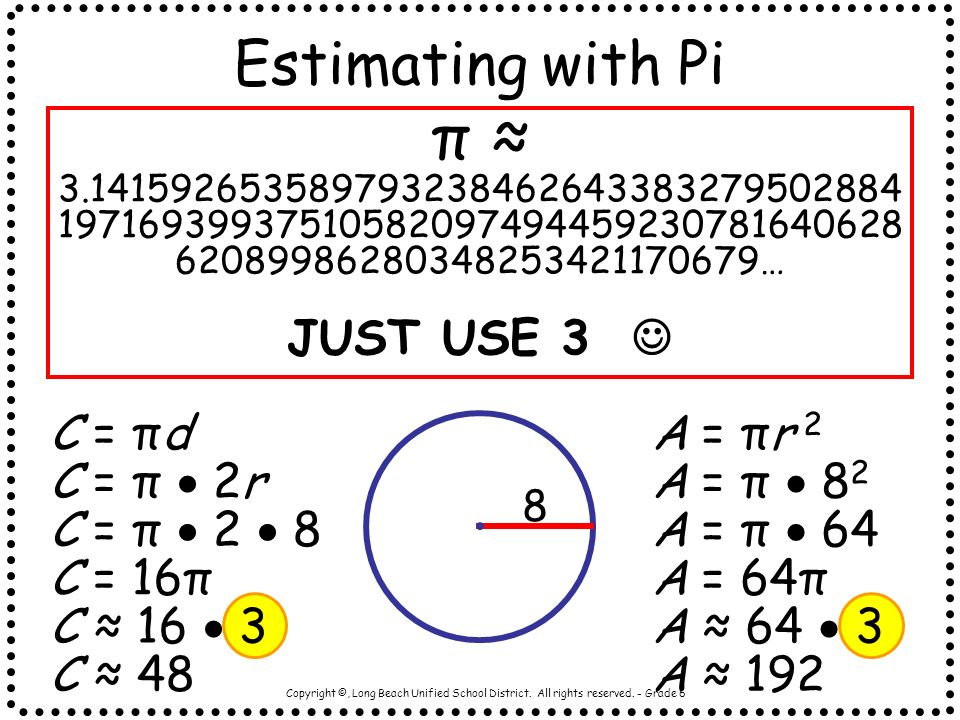 Estimating with Pi π ≈ …