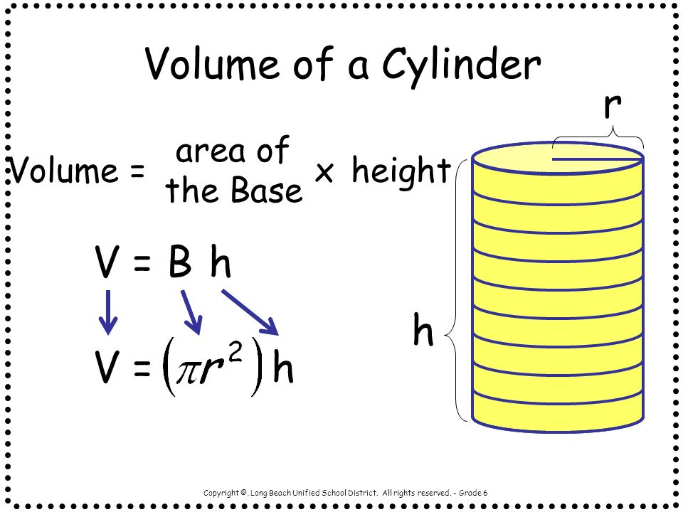 Volume of a Cylinder r h V = B h V = h area of the Base Volume = x
