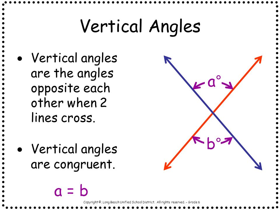 Vertical Angles a° b° a = b
