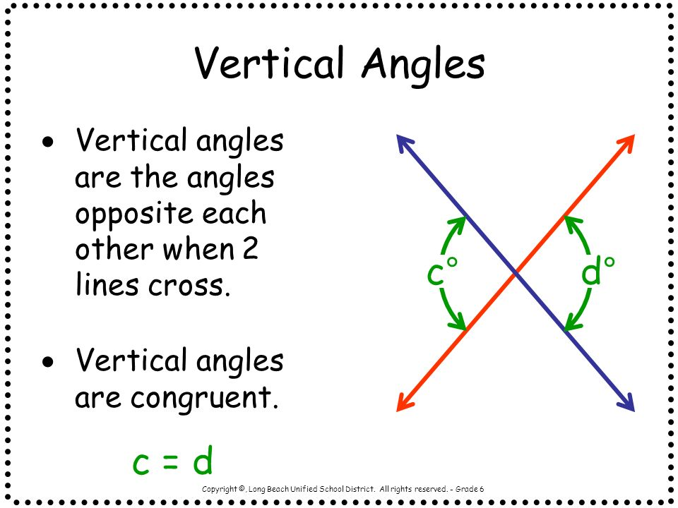 Vertical Angles c° d° c = d