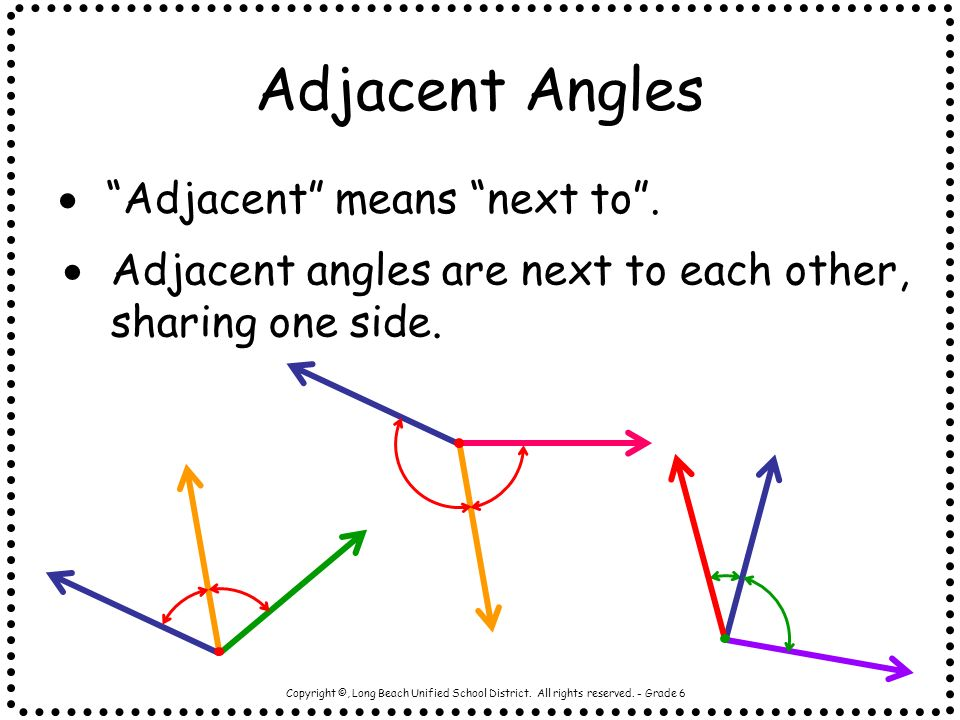 Adjacent Angles Adjacent means next to .