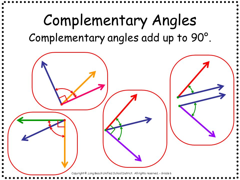 Complementary angles add up to 90°.
