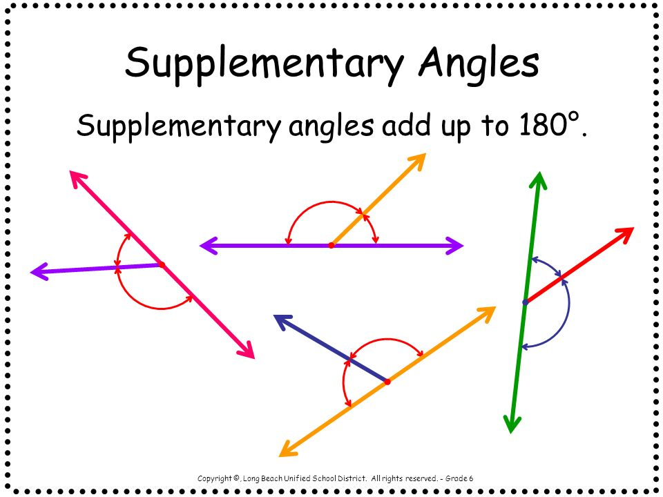 Supplementary angles add up to 180°.