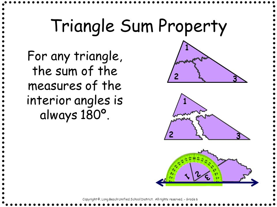 Triangle Sum Property 1. 2. 3. For any triangle, the sum of the measures of the interior angles is always 180º.