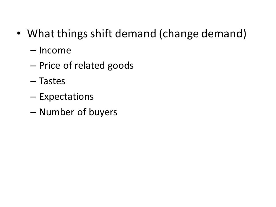 What things shift demand (change demand)