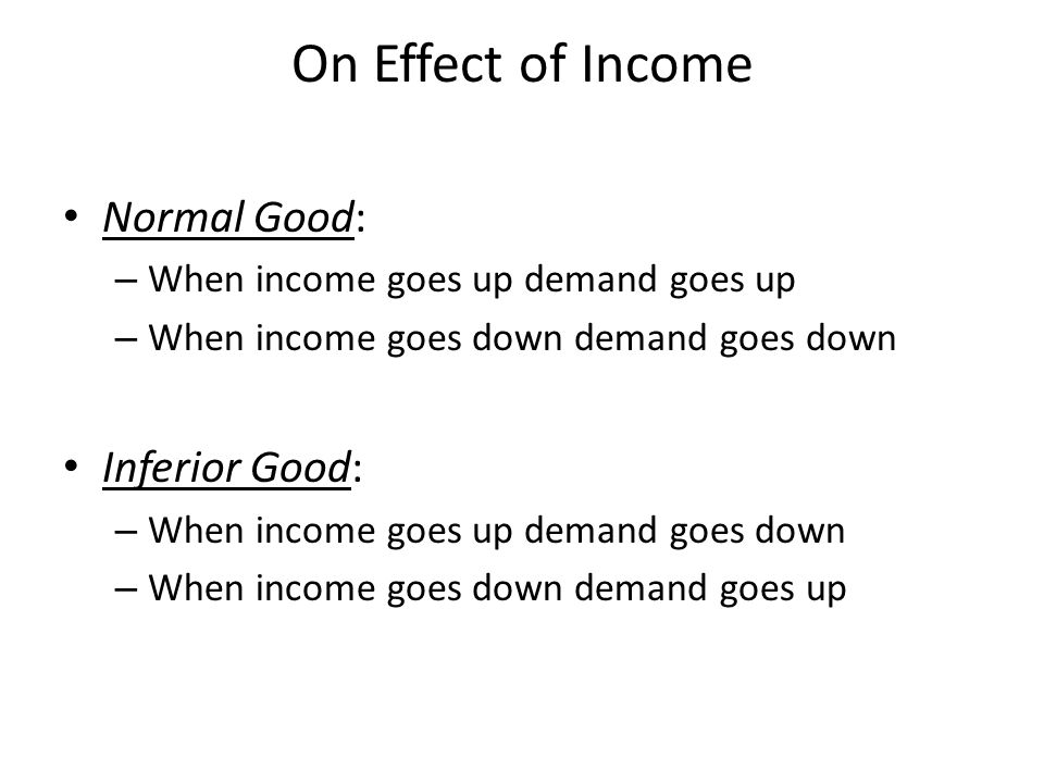 On Effect of Income Normal Good: Inferior Good: