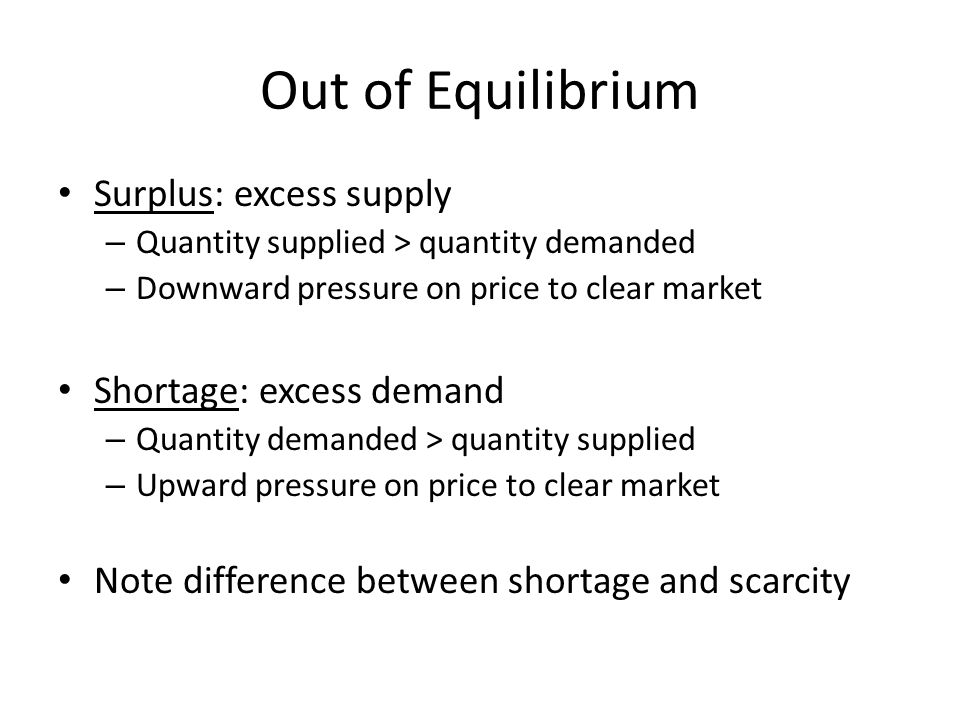 Out of Equilibrium Surplus: excess supply Shortage: excess demand