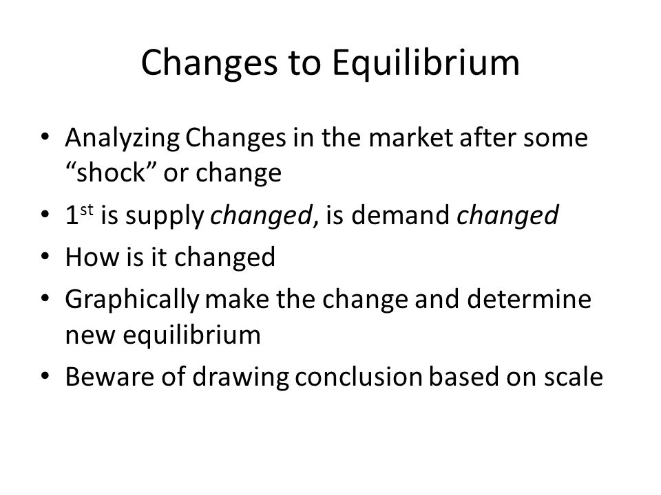 Changes to Equilibrium